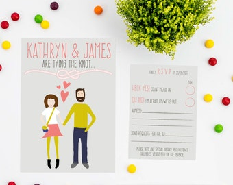 PRINTABLE Hipster Couple Wedding Invitations | Save the Date | RSVP