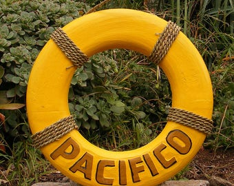 "Pacifico Wood Life Ring Beer Sign Nautical Tiki Bar Pub Man Cave 15"""