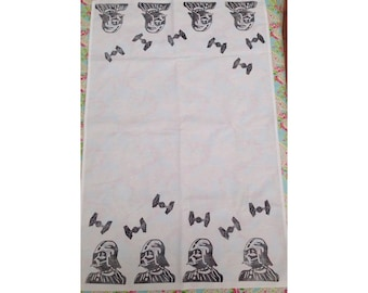 Handmade Lino Print Darth Vader and Tie Fighter Tea Towel