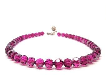 Fuchsia Necklace, Purple Beaded Necklace, Swarovski Crystal Necklace, Beaded Choker, Beaded Necklace,Beaded Jewelry