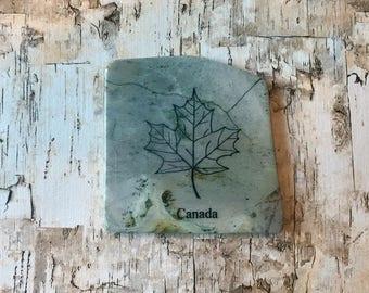 Natural Stone Coaster - Canada   Maple Leaf