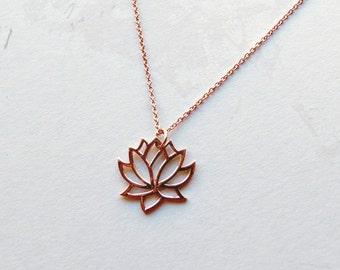 Rose gold lotus necklace gold buddhist pendant gifts for lotus necklace rose gold necklace lotus pendant buddhist necklace gifts for her mozeypictures Choice Image