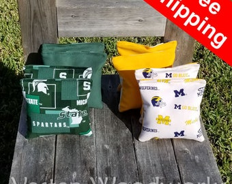 """FREE SHIPPING! Michigan Spartans / Michigan Wolverines set of 8 corn hole bags, top notch quality: 6"""" regulation size! - Delta"""