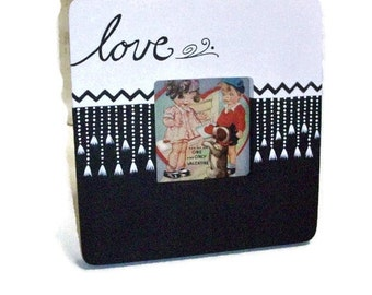 Hand Painted Wedding Photo Frame | Black & White Frame | Fringed Love Design