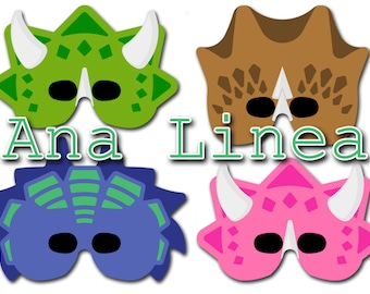 P02 DINO masks ready to print, cut and wear in your dinosaur party