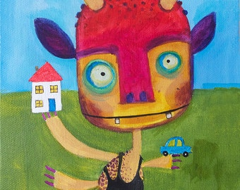 Monster Painting - Whimsical, Colourful, Kid's Bedroom Art, Childlike monsters, Print 8x10