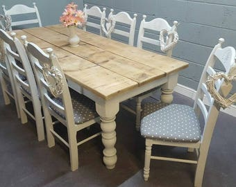 Rustic Farmhouse Shabby Chic 7ft table Set