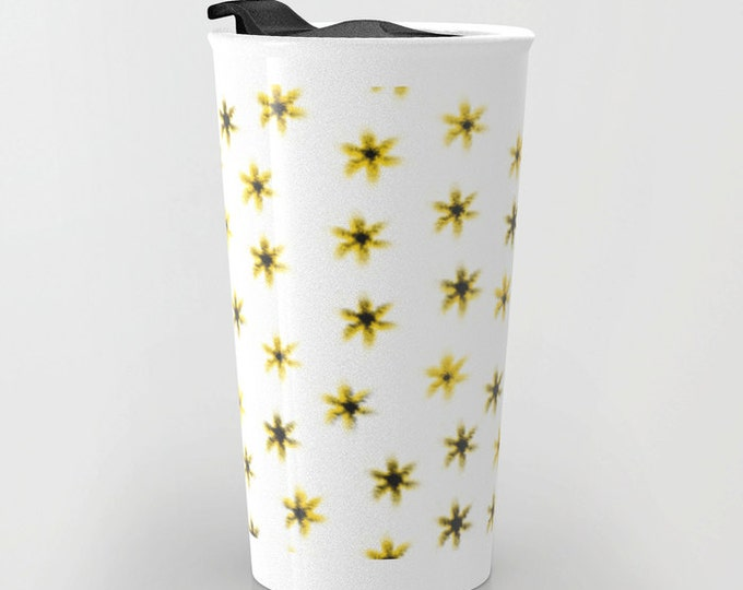 Daisy Flower Travel Mug - Yellow and White - Coffee Travel Mug - Hot or Cold Travel Mug - 12oz Travel Mug - Made to Order