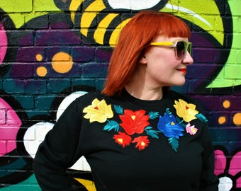 Handmade black sweatshirt with statement floral neck embroidery applique design