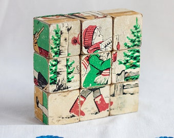 Vintage cubes_picture blocks_learning building cubes_children kids illustration_wooden puzzle blocks_illustrated cubes_educational toy