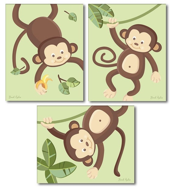 Monkey Prints for Nursery Monkeys Wall Art Nursery Wall Decor