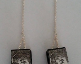 Gothic Halloween dangle earrings with Lugosi vampire image