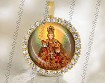 Infant Jesus of Prague - Religious Christian Catholic Medal Pendant / Charm 25mm Round Cabochon