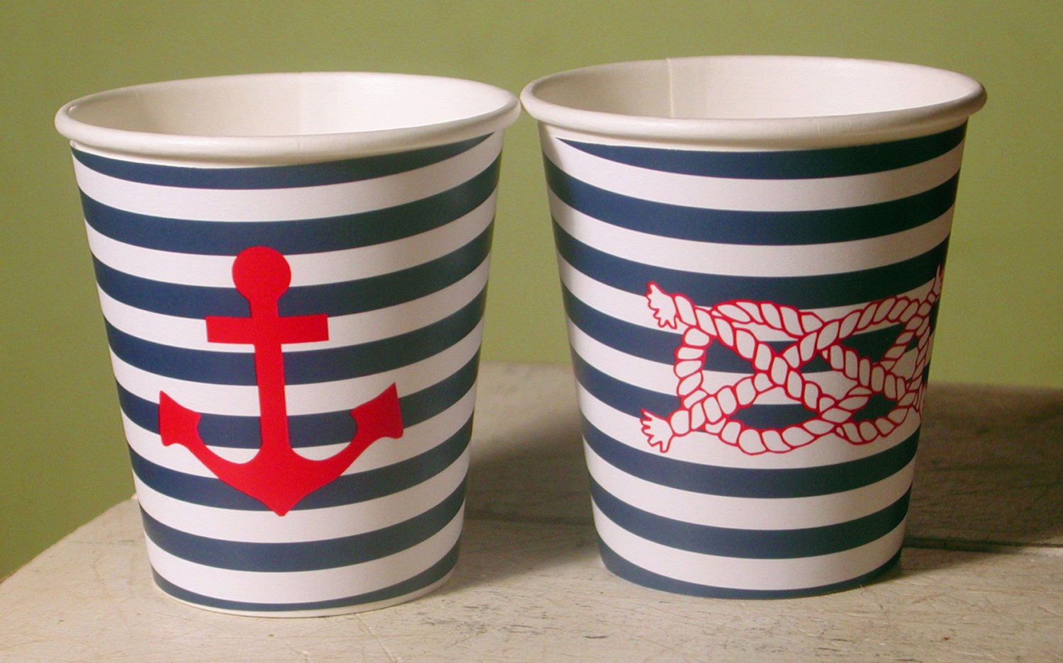 ?zoom & Nautical Anchor and Rope Hot/Cold Paper Party Cups Set of 12