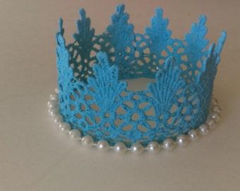 Baby blue crown,  baby crown, Baby lace crown, birthday crown, baby crown, lace crown, toddler crown, photo props, boy crown, princess crown