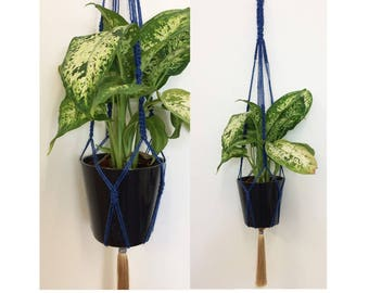 Macrame Plant Holder in Royal Blue and Metallic Beige