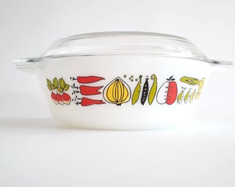 JAJ Harvest 513 round casserole dish with lid Vintage Made in England RARE with original lid