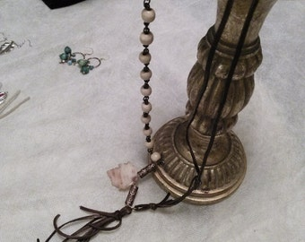Knotted LEATHER & BEAD TASSEL Necklace