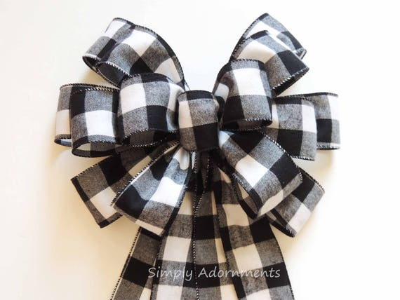 Black White Flannel Buffalo plaid Bow Black White Cabin Check Christmas Topper Bow Black White Buffalo Plaid Bow Christmas Lodge Wreath Bow