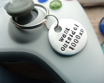 Went Outside Gaming Keychain- Video Game Keychain Gamer Geek- Stamped Aluminum Silver Gamer Keychain- Gaming Couple Experience Keychain