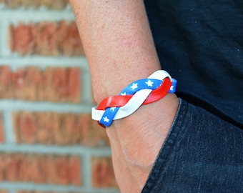 USA bracelet, braided leather bracelet, stars and stripes, 4th of July, United States, USA, home of the brave jewelry