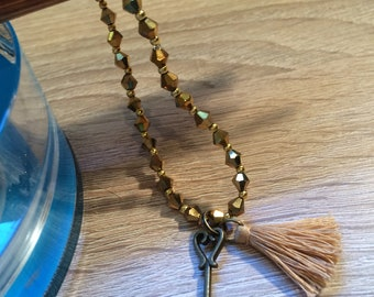 Bracelet Beaded Gold tassel mug key necklace beads