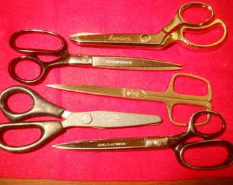 Five Assorted Sewing Scissors/Shears