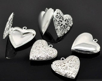 Wholesale Heart Shaped Photo Locket Pendants. Silver Plated Brass Hollow Filigree Charms for Necklace Making.