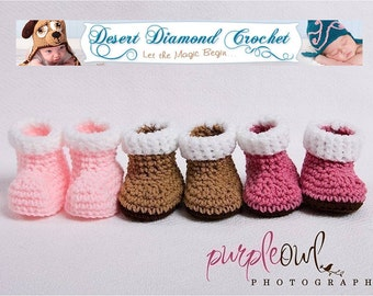 Crochet Pattern 003 - Baby Snow Booties - 5 Sizes