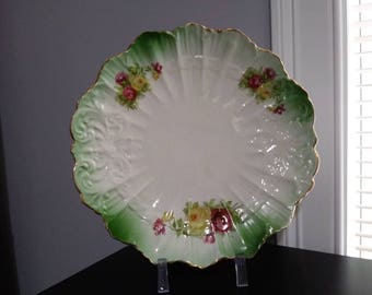 Antique Dresden Plate Hand painted with flowers and green shade Vintage Porcelain Plate 1882-1925