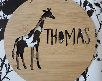 Giraffe Personalised Wooden Wall / Door Hanging 14cm -19.5cm-wall hanging-kids door sign-custom name-kids gift-baby gift-lasercut-plaque