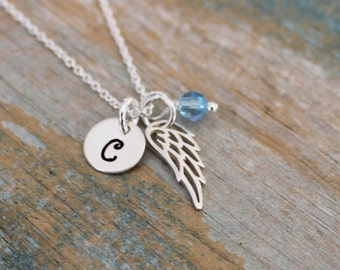 Personalized small angel wing necklace, Sterling silver tiny guardian angel charm necklace, Initial birthstone necklace, Memorial jewelry