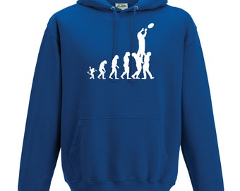 Evolution Rugby Lineout Hoodie. Unisex Rugby Hoodie. Evolution Hoodie. Rugby Gift. Rugby Fan.