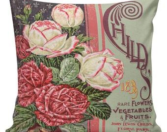 Spring Pillows, Botanical Pillows, Roses, Floral, Spring Decor, Cushion Covers, Throw Pillows, Made in USA, Cotton, Burlap,   #EHD0150