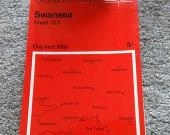 Vintage Ordnance Survey Map No. 153.  Swansea.   1966