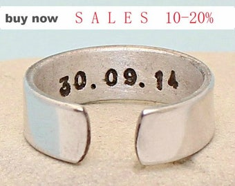 Silver Adjustable Personalized Ring - Made of Aluminum ring - Hand stamped  - Date Band - Name Band