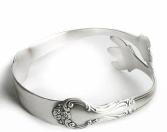 Amaryllis Flower Bracelet, Floral Spoon Bracelet, Vintage Sterling Silver Spoon Bracelet, Flatware Jewelry, Adjustable Size 6 7 8 9 (B6977)