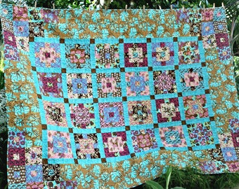 Twin Quilt, Turquoise Brown Patchwork Quilt, Double Bed Quilt, Dorm Quilt, Full Bed Quilt, Queen Bed Topper, Quiltsy Handmade