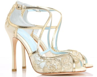 Wedding Shoes Gold Embroidered Lace and Ivory Silk Criss Cross Handmade and Romantic Bridal Bella Belle Tess