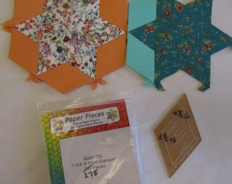 """DESTASH - English Paper Piecing (EPP) 1 3/4"""", 6 Point Diamond Papers and Acrylic Template"""