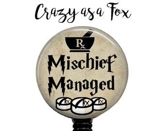 Pharmacy Mischief Managed Retractable Badge Holder, Harry Potter inspired Badge Reel, Lanyard, Stethoscope ID Tag, Pharmacy, Pharmacist Gift