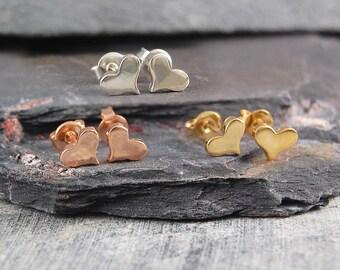 Tiny Heart Studs, Silver Heart Earrings, Dainty Studs, Sterling Silver, Stud Earrings, Gold Plated, Hearts, Small Studs, Silver Studs, Gold