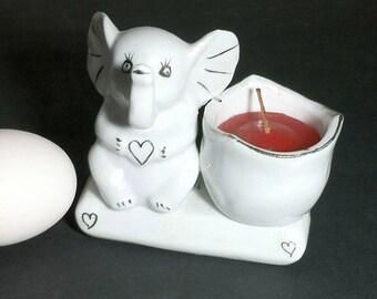 Vintage Baby Elephant Candleholder / 1980s Porcelain White Elephant Candle Holder with Red Candle
