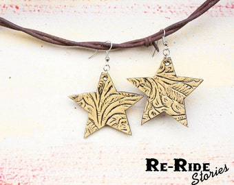 Leather Star Earrings