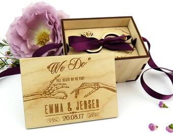 Gothic wooden wedding ring box, Alternative wedding engraved ring box, Halloween wedding, Personalised wedding ring box, Ring bearer gift