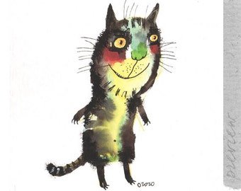 The extravert cat , original painting by ozozo