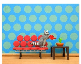 35% OFF SALE Mid century modern animal art print with a raccoon: Going In Circles