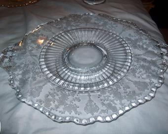 Antique Vintage Etched Glass Platter, Fostoria