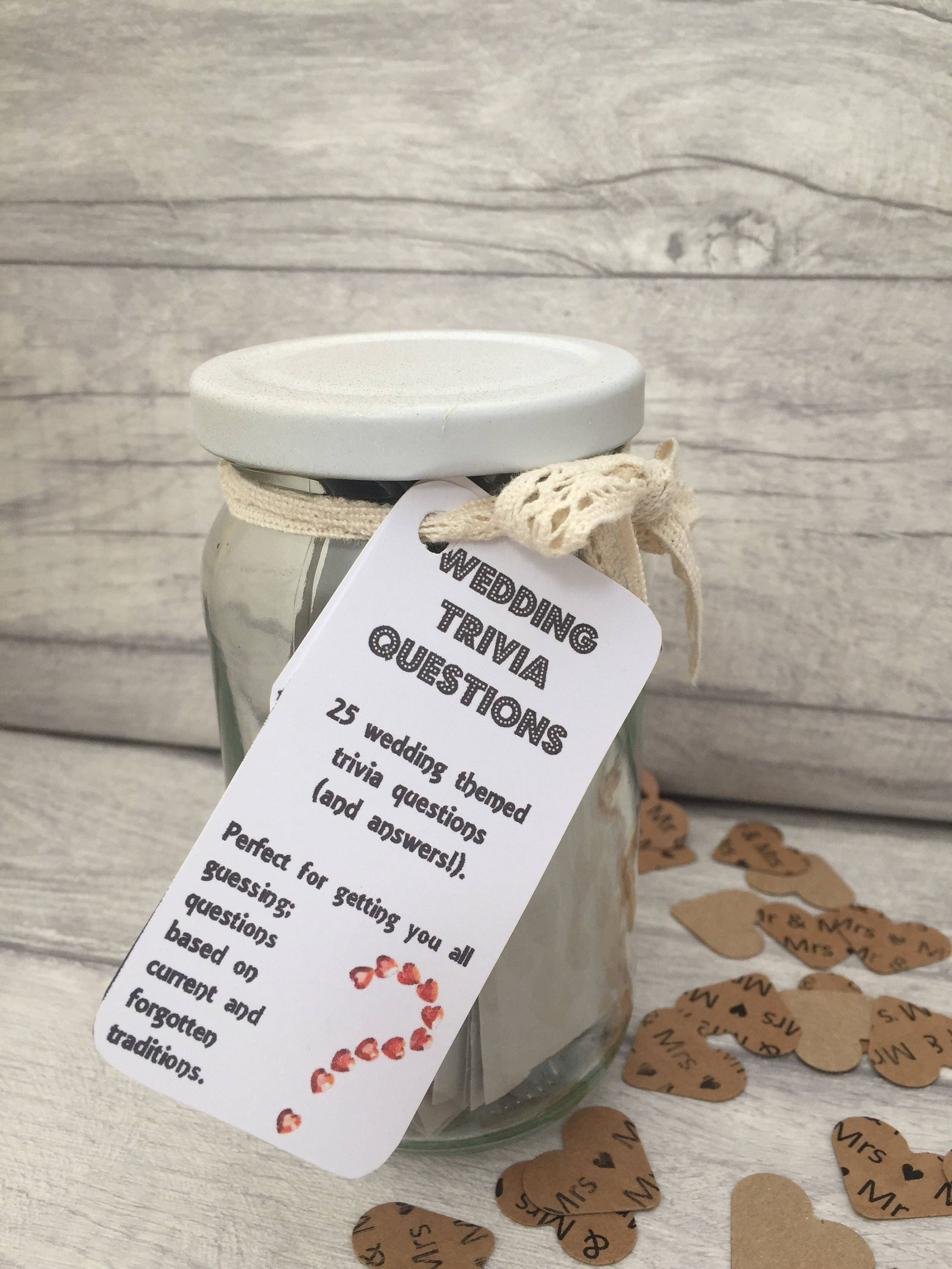 Wedding Trivia Jam Packed Jars Wedding Games Bride and