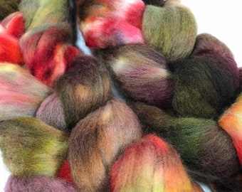 spinning fiber, 5.3 oz, merino hand-dyed roving, kettle-dyed, combed top woodsy tones